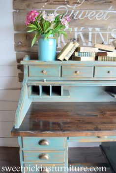 I've never been crazy about roll topped desks, but this is THE exception.  Sweet Pickins Furniture - Sea Green Milk Paint