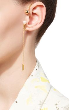 Madison Pearl Dangle Ear Cuff by FALLON Now Available on Moda Operandi