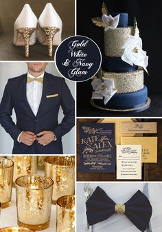 Matrimonios en azul y dorado