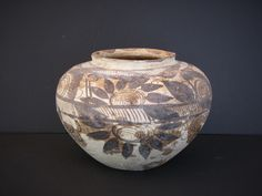 Early Acoma Pottery Urn, Grey Vase Hand Painted, Pueblo Pot, Antique, Native American, Mexican - pinned by pin4etsy.com