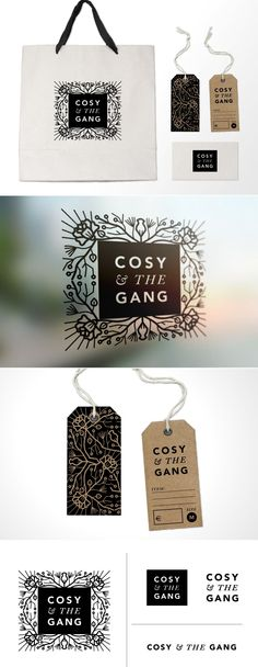Cosy The Gang logo and branding - brand identity by Amy Hood of Hoodzpah Art Graphics Corporate Design, Brand Identity Design, Graphic Design Typography, Corporate Identity, Design Agency, Identity Branding, Visual Identity, Branding And Packaging, Packaging Design