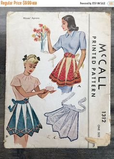 1949 Apron' One Size McCall 1312; Misses Vintage 1940s Sewing Pattern by RoxyPoindexter
