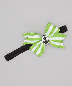 Take a look at this Lime & White Stripe Nautical Bow Headband on zulily today!