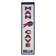 """$31.50 - Your favorite space deserves a little bit of your favorite NFL team, and this Buffalo Bills banner is just the ticket. Featuring team logo, helmet and """"Man Cave"""" applique and embroidery. Product Features Hanging cord Product Details 32"""" x 8"""" Wool blend felt Imported"""