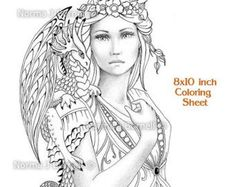 Fairy Dragon Queen - Fairy Tangles Grayscale Coloring Sheets Printable Coloring Pages Fairies and Dragons to color adult coloring books Coloring Pages For Grown Ups, Colouring Pages, Coloring Books, Online Coloring, Adult Coloring, Bird Stencil, Grayscale Image, Printable Coloring Sheets, Forest Fairy