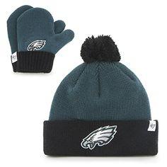69f6ba8f0ae nice NFL Philadelphia Eagles Toddler Brand Bam Bam Cuff Knit Pom Hat and  Mittens Set