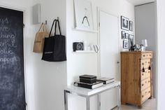 Homevialaura | chalkboard door | wooden antique dresser | coffee table books | Garance Dore poster | gallery wall