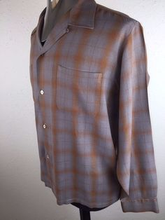 "VINTAGE 1950'S ROCKABILLY VLV SHADOW PLAID""CHEVELLA"" STYLE POCKET RAYON SHIRT-LG"