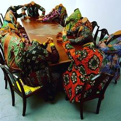 """This is one of my favorite pieces of art by Yinka Shonibare @shonibarestudio who is a British-Nigerian artist that explores cultural identity colonialism and post-colonialism in his work. This piece is called """"Scramble for Africa"""". It depicts the Berlin Conference of 1884-1885 where European nations carved up Africa and decided what parts they wanted. Shonibare explains that the heads of state are characterized as headless - and equally mindless in their hunger for Africa. However he also…"""