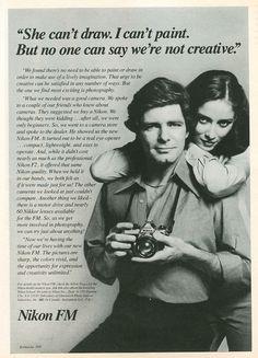 Nikon Fm Photography Gear, Photography Equipment, Vintage Photography, Retro Advertising, Vintage Advertisements, Vintage Ads, Nikon 35mm, Nikon Cameras, Classic Camera