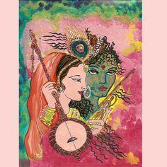 Original-Gemälde ~ Radha Krishna