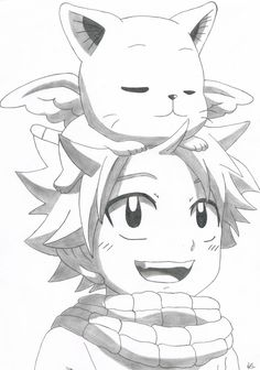 Natsu y Happy Fairy tail Fairy Tail Drawing, Fairy Tail Art, Natsu Fairy Tail, Fairy Tail Anime, Naruto Sketch, Anime Sketch, Anime Drawings Sketches, Cool Art Drawings, Anime Character Drawing