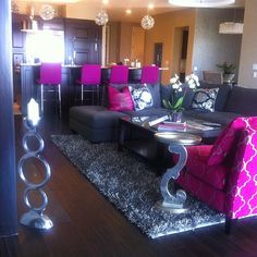 Beautiful My Living Room In My Bachlorette Pad! Key Colors: Hot Pink, Grey, Part 27