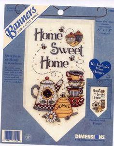 Schema punto croce Banner Sweet Home 01/04