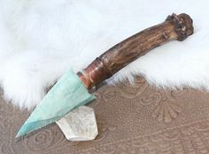 Imperial Jasper Flint Knife Antiqued Antler Handle by FlintKnapper, $30.00