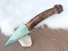 Imperial Jasper Flint Knife Antiqued Antler Handle by FlintKnapper, $30.00