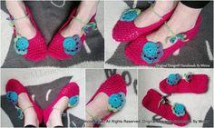 Virkatut kotitossut, Crochet slippers  Original Design© Handmade By Minna