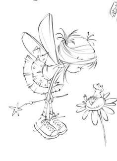 hada-niña, flor y rana. dibujo                                                                                                                                                                                 Más