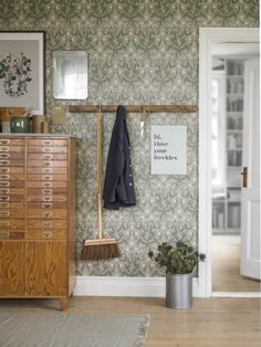 Thistle by Boråstapeter - Green - Wallpaper : Wallpaper Direct Thistle Wallpaper, Green Wallpaper, Textured Wallpaper, Pattern Wallpaper, Hallway Shoe Storage, Hallway Wallpaper, Vintage Floral Wallpapers, Interior House Colors, Hallway Decorating
