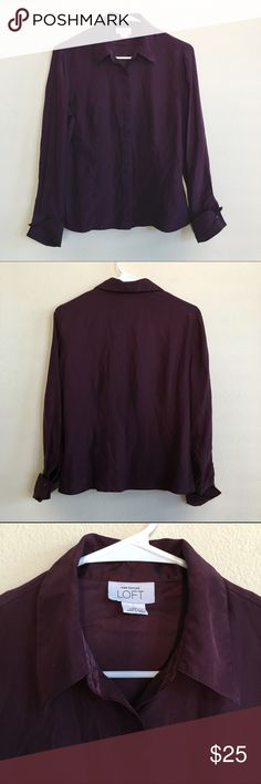 LOFT Purple Silk Collared Button Down Deep eggplant purple silk button down blouse. Nice quality and in excellent condition. Size 8P. LOFT Tops Button Down Shirts