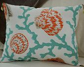 Beach Decor Coral and Seashell Pillow with Shell Tassels Pillow - Sea Foam and Coral
