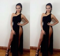 Find More Evening Dresses Information about Wholesale Cheap Sexy Black Evening Dresses Side Split One Shoulder Party Prom Dresses Sheath Sleeveless Evening Gown ,High Quality gown evening,China dress market Suppliers, Cheap dress ink from Amanda's Dress House on Aliexpress.com