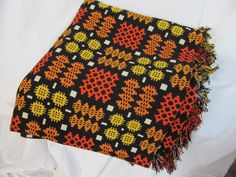 Vintage DERW Black orange Welsh Wool Tapestry Throw Blanket (a) | eBay