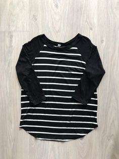 Kid's Striped Piko Style 3/4 Length Sleeves Top