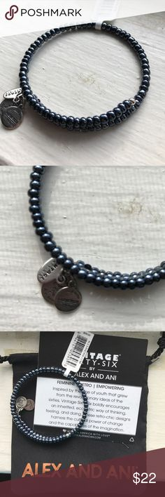 NWT Alex & Ani Highwire wrap bracelet in Midnight NWT and RETIRED! Highwire wrap style bracelet with shiny, navy beads on silver wire. Expandable. Includes meaning card and pouch Alex & Ani Jewelry Bracelets