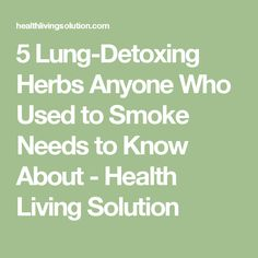 5 Lung-Detoxing Herbs Anyone Who Used to Smoke Needs to Know About - Health Living Solution