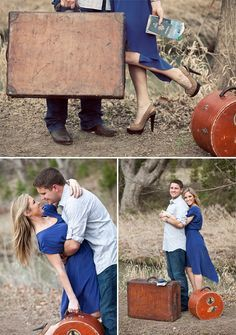 Engagement photo shoot with a traveling theme #travel #engagement #engaged #photoshoot #photos #photography #traveling #couple #love #vintage #shoot