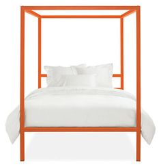 Orange steel bed frame. I would hang all sorts of string lights and garlands from the top bars.