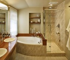 Corner bathtub two person bathtubs pinterest showers for Bathroom design ideas 8x10