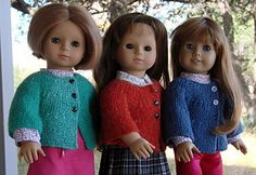 Free knitted sweater pattern for American Girl Dolls.