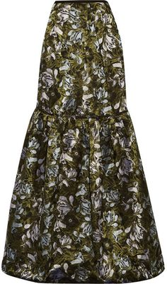 Erdem - Amanda Tiered Floral-jacquard Maxi Skirt - Dark green  https://api.shopstyle.com/action/apiVisitRetailer?id=609718943&pid=uid2500-37484350-28