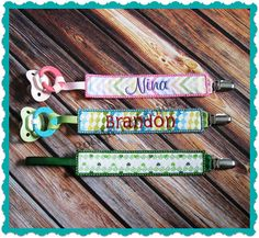 In The Hoop Pacifier Clip Embroidery Design- INSTANT DOWNLOAD on Etsy, $5.00