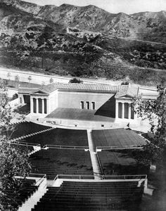 Water and Power Associates. - Caption reads: View of the Griffith Park Greek Theatre. California History, Southern California, Los Angeles Hollywood, Griffith Park, Hollywood Sign, City Of Angels, Old Pictures, Historical Photos, Classic Hollywood