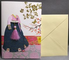 Korean Traditional Designed Card - Korean Traditional Cloth Hanbok 6 by lovingpaper on Etsy