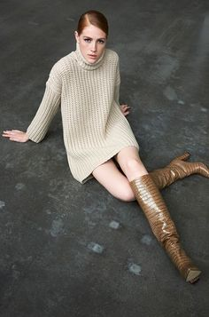 Cashmere knitted dress & croc effect boots Celine, Balenciaga, Fendi, Knit Dress, Dress Up, Valentino, Saint Laurent, Cashmere Dress, Fall Winter