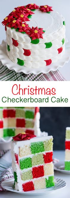{VIDEO} How to make a festive checkerboard cake with buttercream poinsettia's! #christmas #cake #christmascake #iambaker