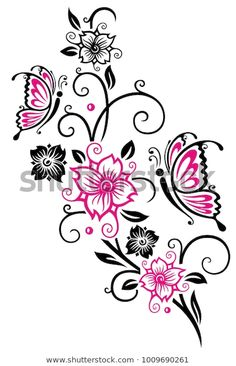 Find Floral Ornament Cherry Blossoms Butterflies Pink stock images in HD and millions of other royalty-free stock photos, illustrations and vectors in the Shutterstock collection. Thousands of new, high-quality pictures added every day. Vine Tattoos, Celtic Tattoos, Flower Tattoos, Body Art Tattoos, Stomach Tattoos, Butterfly Hand Tattoo, Butterfly Tattoo Designs, Butterfly Art, Tattoo Stencil Designs