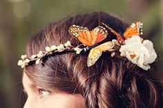 Butterfly headpiece Bridal hair band Whimsical by whichgoose