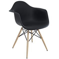 Wood Pyramid Arm Chairs are crafted out of molded plastic for the seat and a solid wood pyramid base.  Comfortable and versatile, this chair can be used to decorate any space.