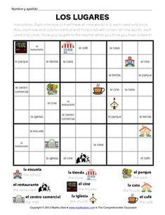 Use this Wordoku puzzle to help students become familiar with Spanish words for common places they go. This Wordoku puzzle includes nine common places vocabulary words in Spanish: casa, escuela, iglesia, cine, restaurante, café, parque, centro comercial, escuela