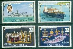 1977 Anguilla Royal Visit Set Fine Mint SG 298 301 Scott 297 300 Condition Fine MNH Only one post charge applied on multiple purchases Details