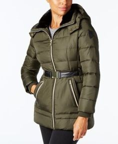 Vince Camuto Faux-Fur-Trim Belted Puffer Coat - Green XXL