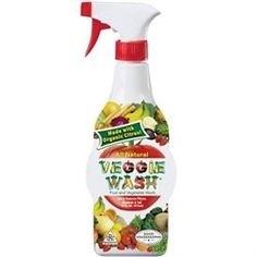 Homemade Veggie Spray: 1:1 ratio water and vinegar with 2 TB lemon juice.