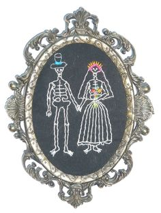 """""""We Do"""" by artist Mavis Leahy, Hand embroidered on repurposed linen in vintage metal frame, 4 ¾"""" W x 6 ¾"""" H - SOLD"""