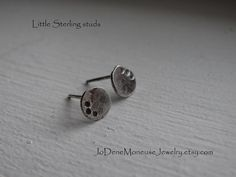 Little sterling studs, rustic, hand fabricated earrings in recycled sterling silver $26.00 by JoDeneMoneuseJewelry on Etsy