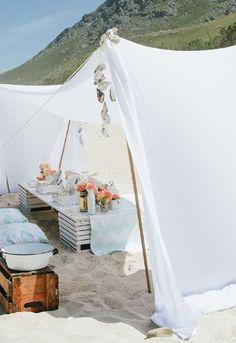 "tent for kids or ""sweetheart"" table  70 Romantic Boho Beach Wedding Ideas   HappyWedd.com"